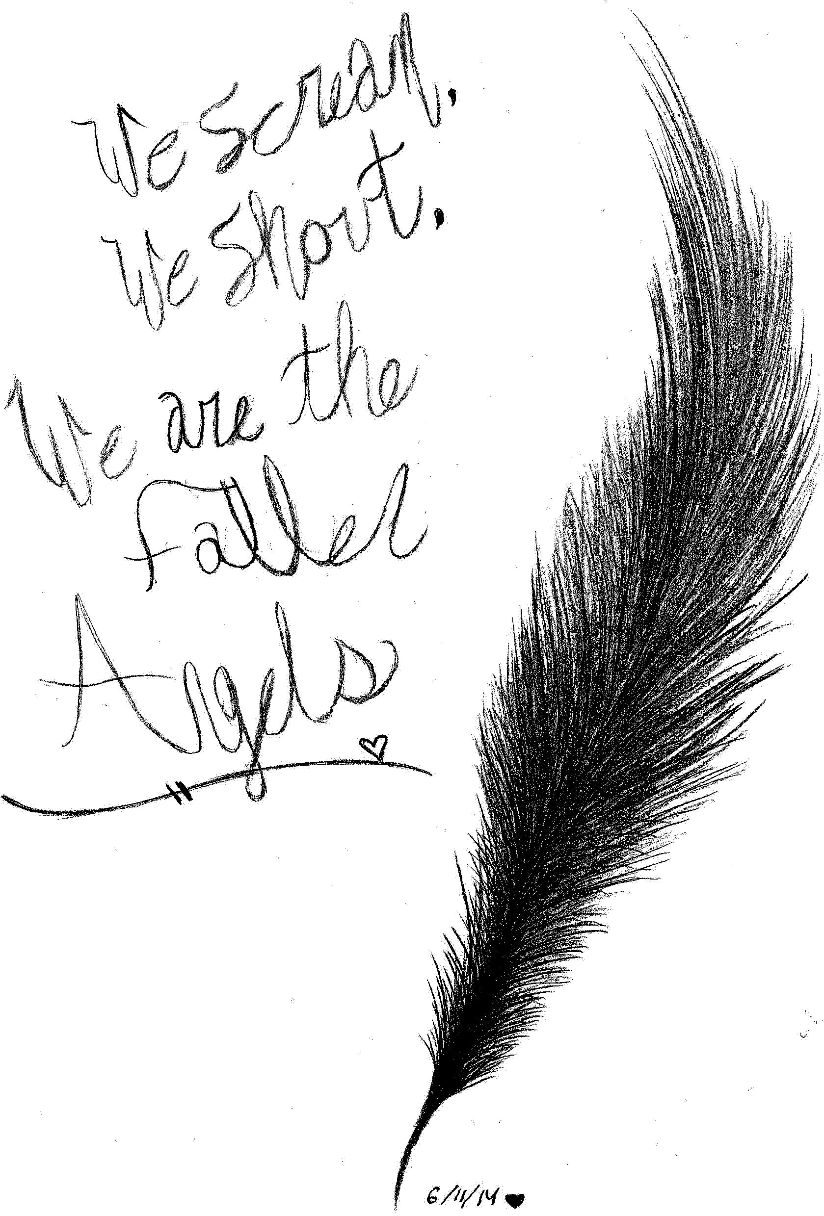 BLACK VEIL BRIDES FALLEN ANGELS FEATHER Drawing