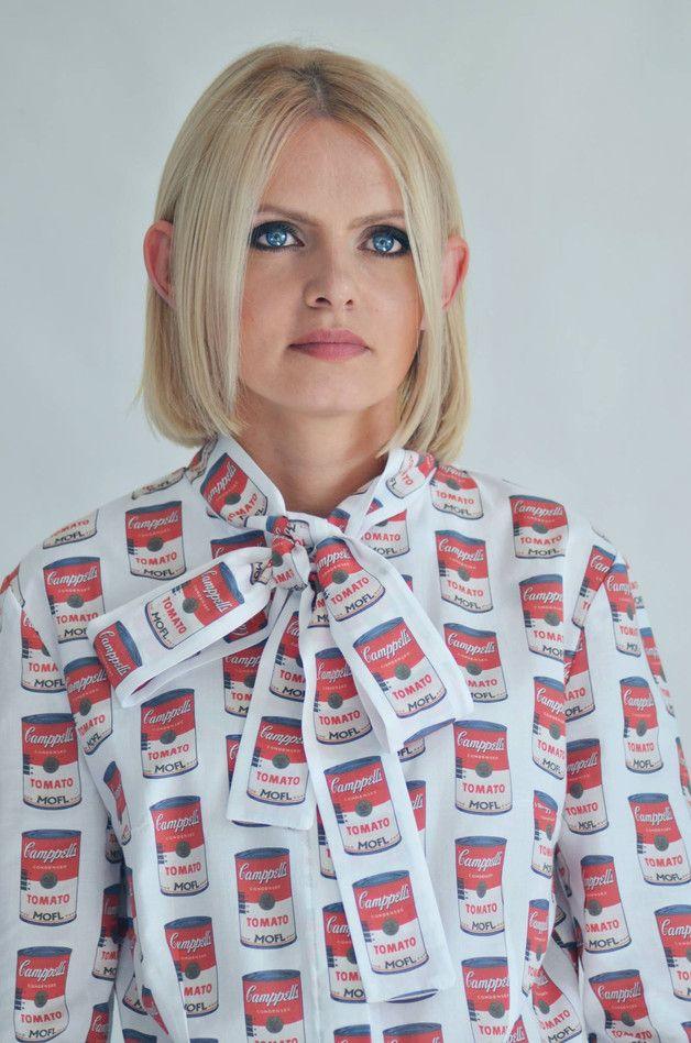 MOFL: Damska Koszula Pop Art Tomato Soup - moflgirl - Koszulki z długim rękawem