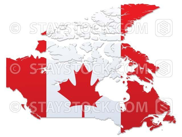 Map Of Canada Red.Canada Flag Map Staystock Canada Flag Map Vector