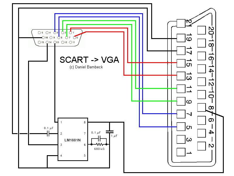 Scart 2 Vga Vga Electronic Circuit Design Electronics Circuit