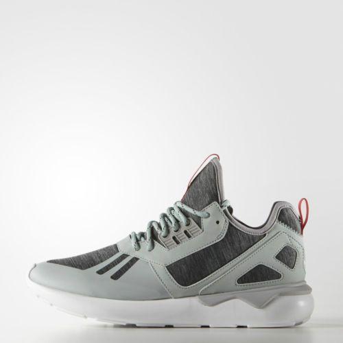 Adidas tubular runner weave mist slate grey tomato red running white s82650