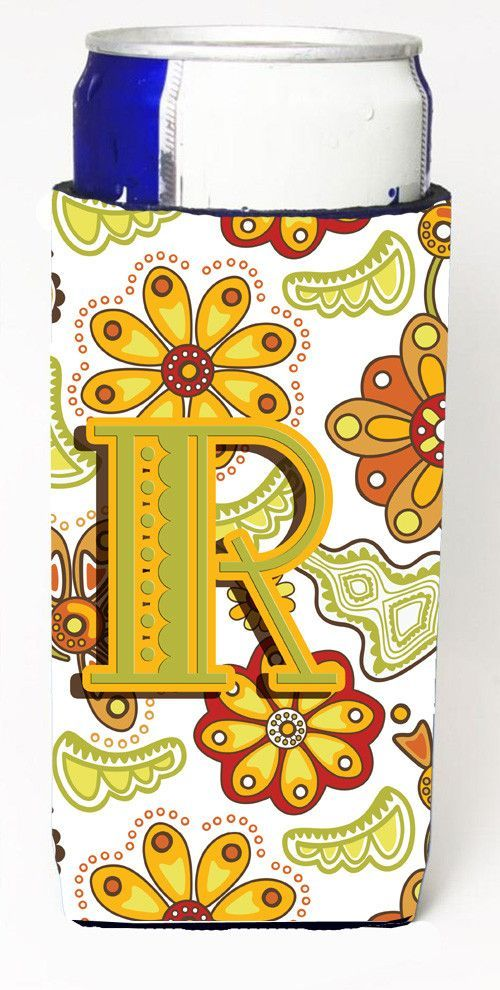 Letter R Floral Mustard and Green Ultra Beverage Insulators for slim cans CJ2003-RMUK