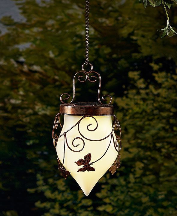 Solar Garden Hanging Lantern Yard Garden Outdoor Lighting Butterfly Bronze  Light #Unbranded