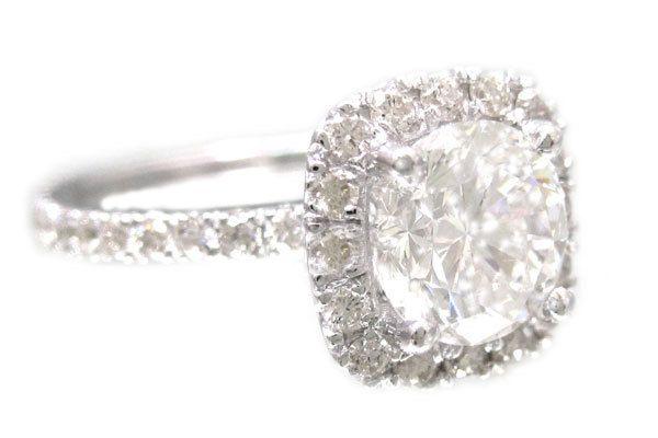 18k white gold round cut diamond engagement ring halo prong set 1.44ctw. $4,699.00, via Etsy.