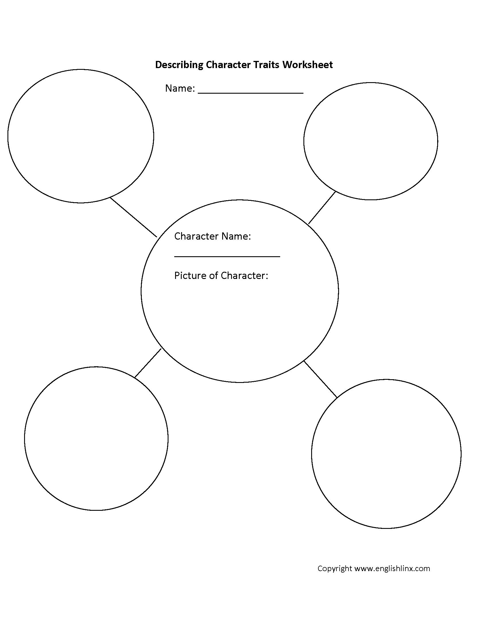 Describing Character Traits Worksheet
