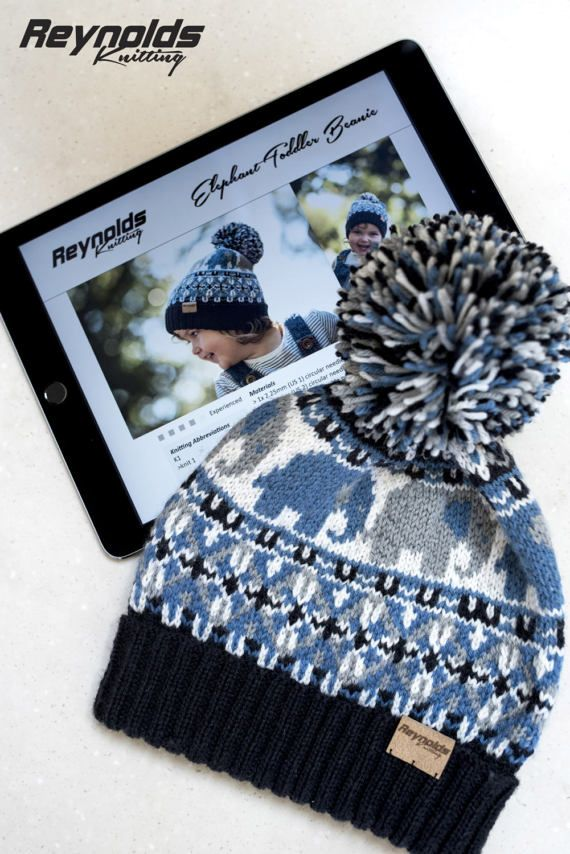 Pdf Knitting Pattern Elephant Toddler Beanie Pompon Snow Hat