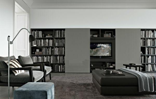 Elegante Wohnwand Ideen Graphitfarbene Oberfläche Und LED Flachbiildschirm