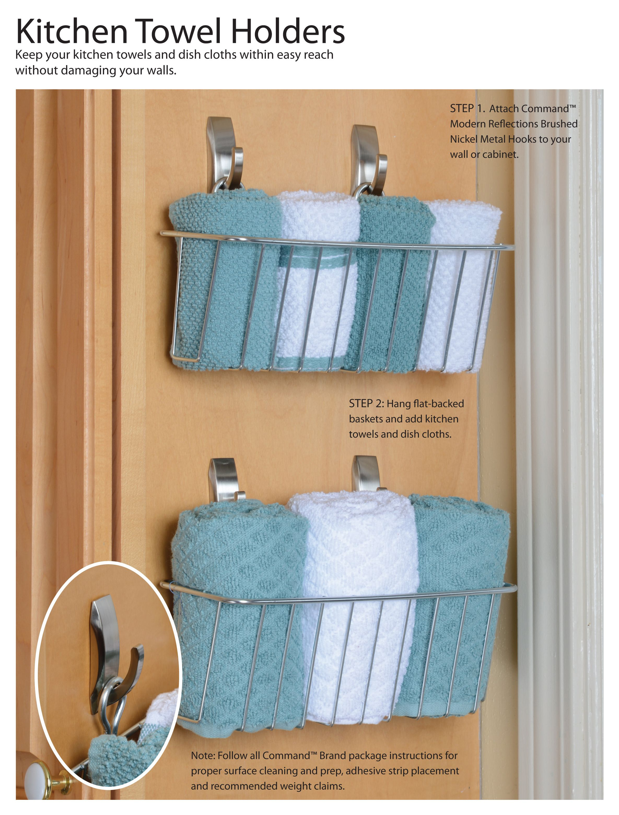 How To Organize Kitchen Towel Get The Instructions For This Easy Diy Here Commandhooks Kitchen Towels Storage Towel Organization Kitchen Organization