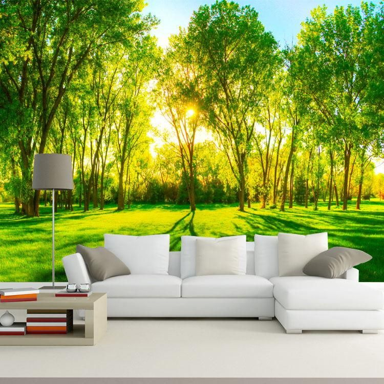 Forest Trees Photo Wallpaper Custom 3d Wallpaper Natural Landscape Wallpaper For Walls Bedro Tree Wallpaper Living Room 3d Wallpaper Living Room Wall Wallpaper