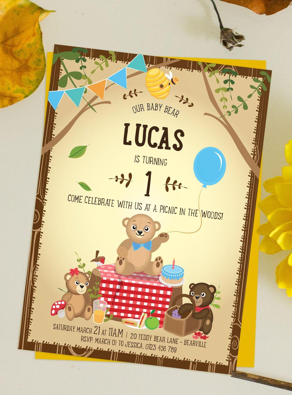 A very cute printable Teddy Bears\' Picnic themed invitation! A ...