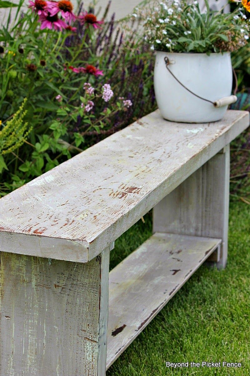 Chippy paint finish on reclaimed wood bench http bec4 for Painted outdoor benches