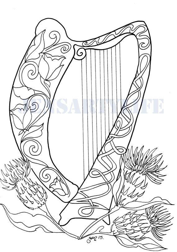 Celtic Harp Colouring Page Celtic Coloring Celtic Harp Harp