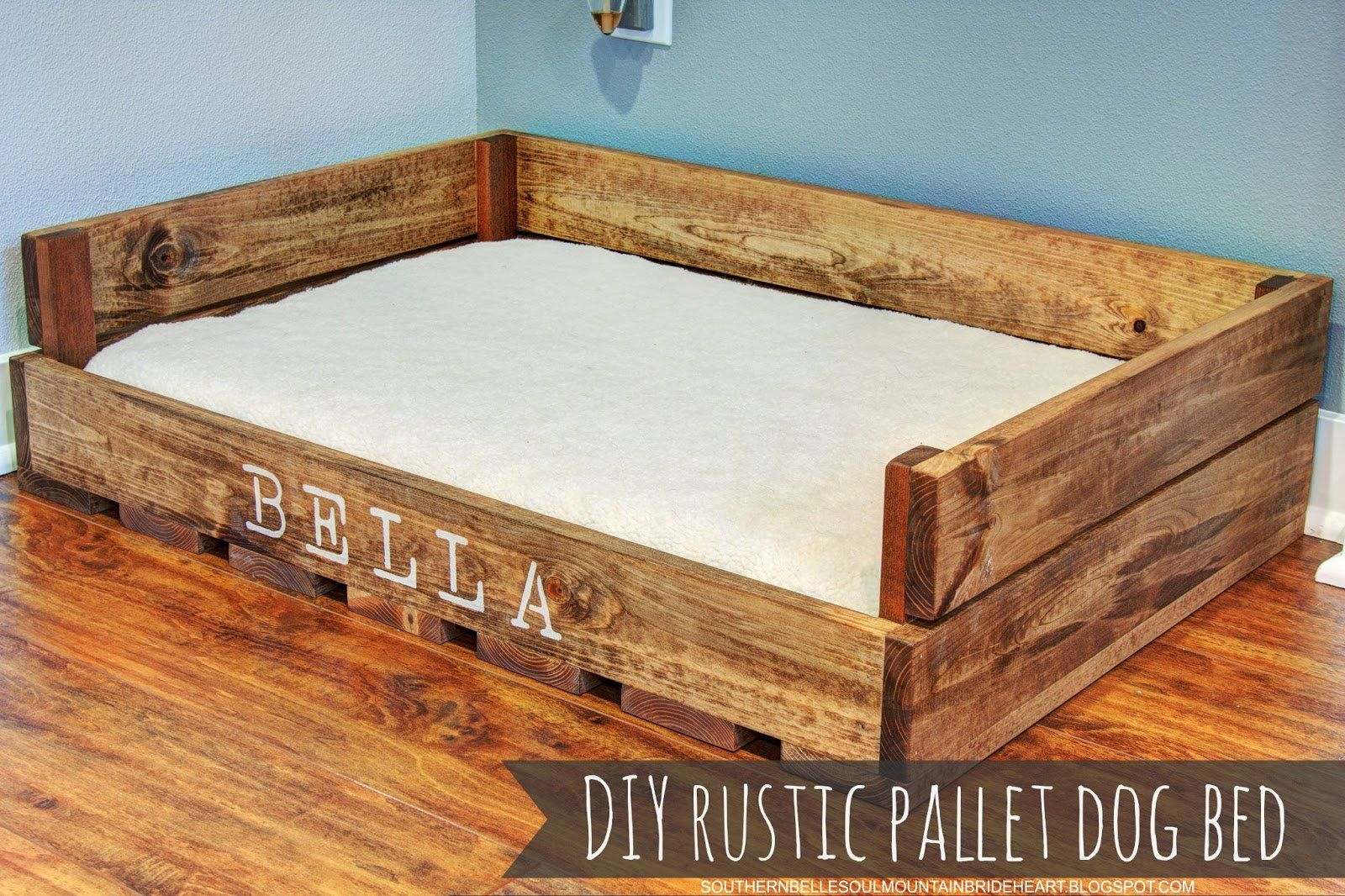 Love this so easy to make diy rustic dog bed made from for Diy rustic bunk beds