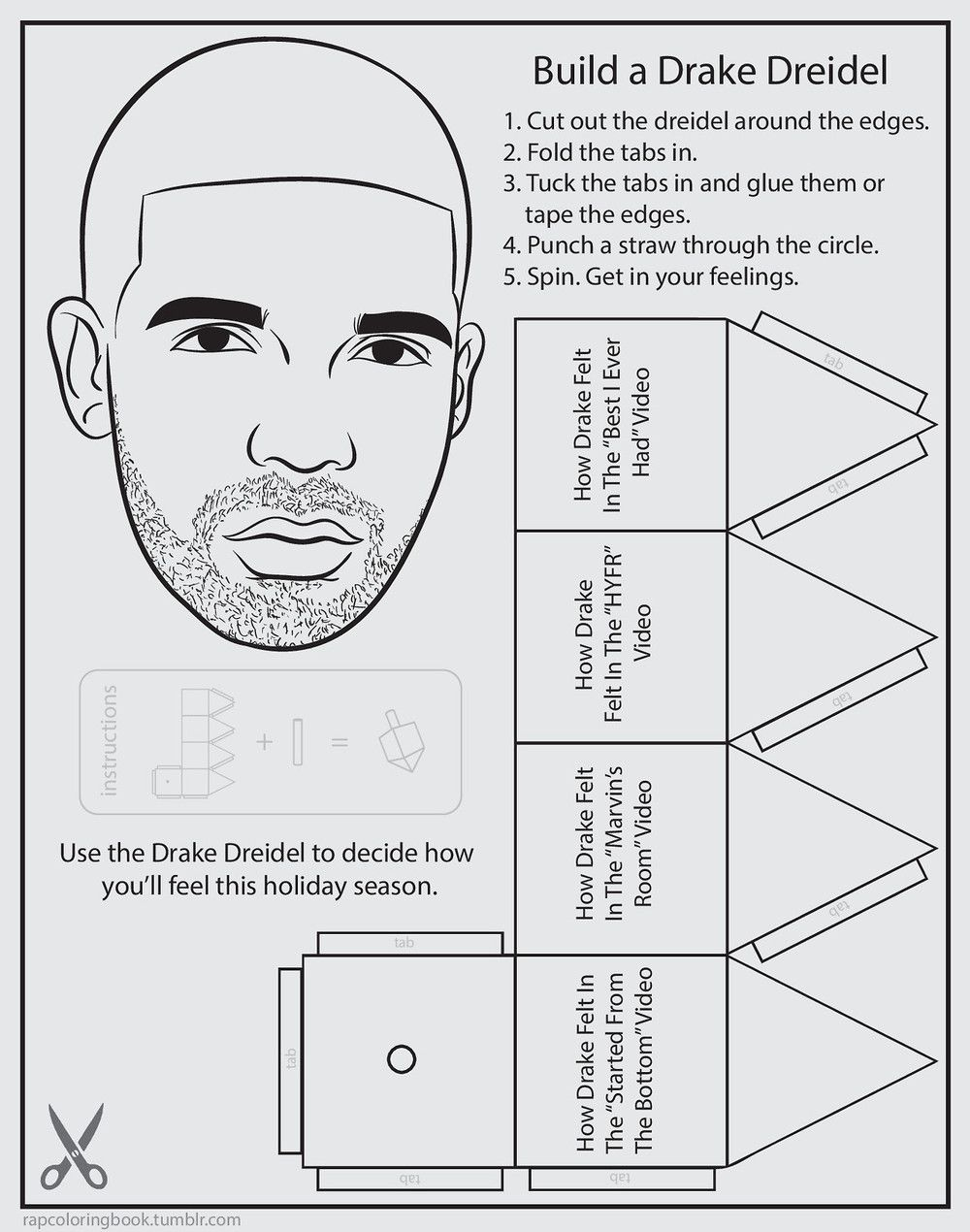 Drake Dreidel From Bun Bs Rap Coloring And Activity Book