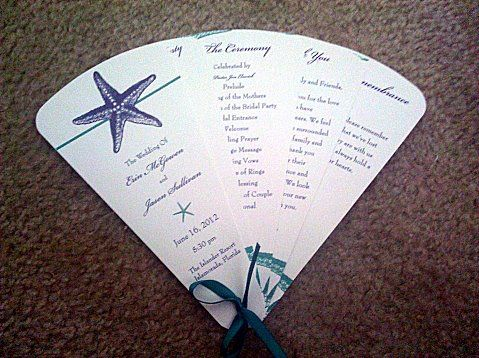 Beach Ceremony Programs Fans And Parasols Outdoor Personalized Wedding Favors Photos
