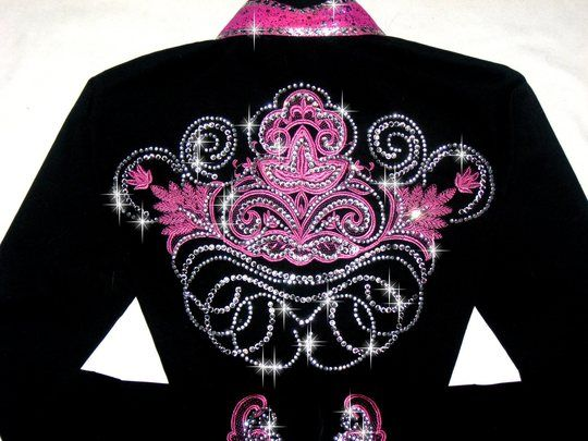 071919b8 bling western showmanship shirts | ... > DELICATE PINK SCROLLS! MEGA BLING! Barrel  Racing/Rodeo Queen Shirt