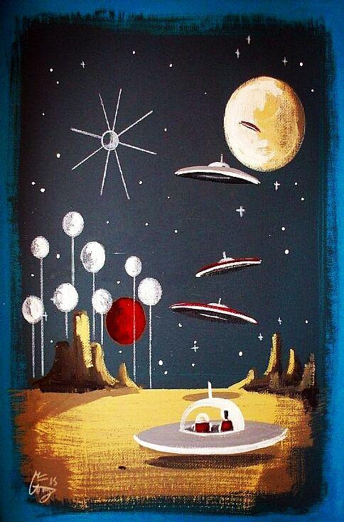 Erstaunlich Mitte Des Jahrhundert Moderne Kunst, Kunst Aus Der Mitte Des Jahrhunderts,  60er Kunst, Retro Kunst, Raumschiff, Weltraumzeitalter, Weltall
