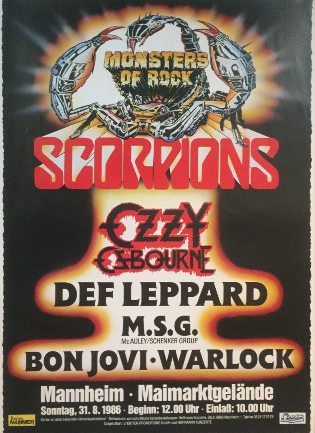 "Hervorragend Monsters of Rock 1986 Mannheim / Germany last gig Scorpions ""Love QV84"