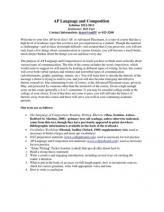 Ap Language And Composition Syllabus 12 13 Ap Language Ap Language And Composition Ap Lang
