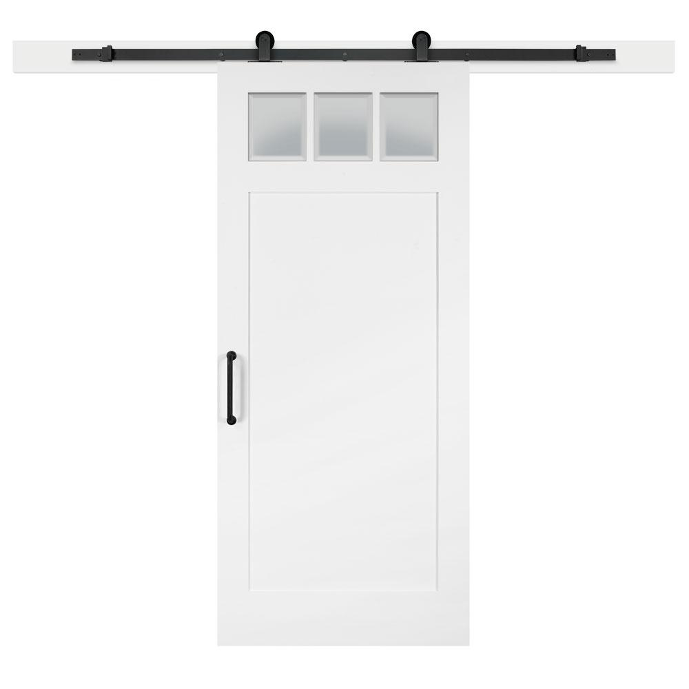 Jeff Lewis 36 In X 84 In White Collar Craftsman 3 Lite Clear Solid Core Mdf Sliding Barn Inter Interior Sliding Barn Doors Doors Interior Interior Barn Doors