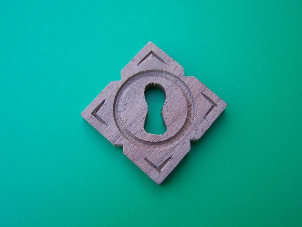 KEYHOLE COVER PLATES WOOD ESCUTCHEON FOR ANTIQUE VICTORIAN FURNITURE WALNUT WOOD