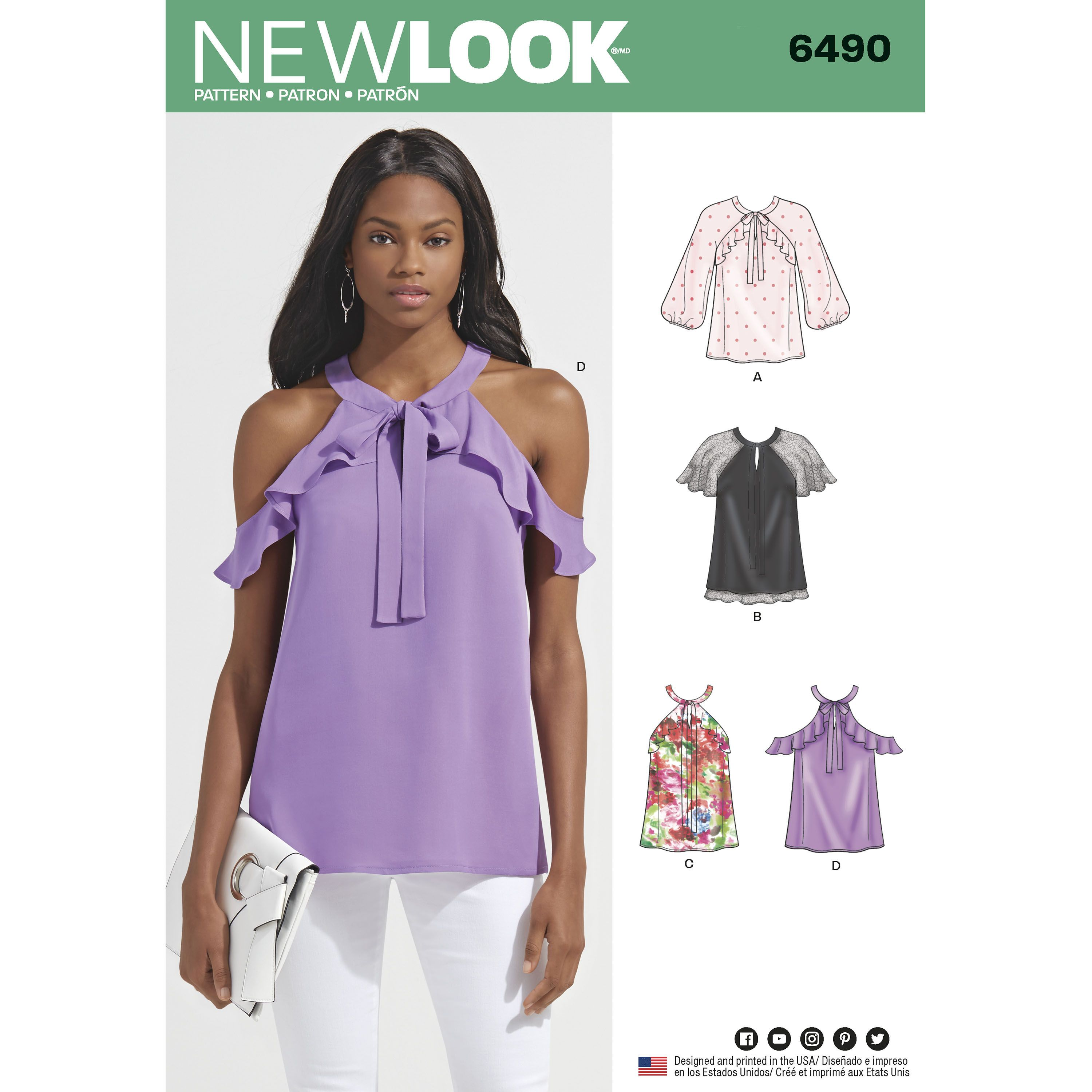 New Look 6490 Misses\' Blouses With Sleeve Variations