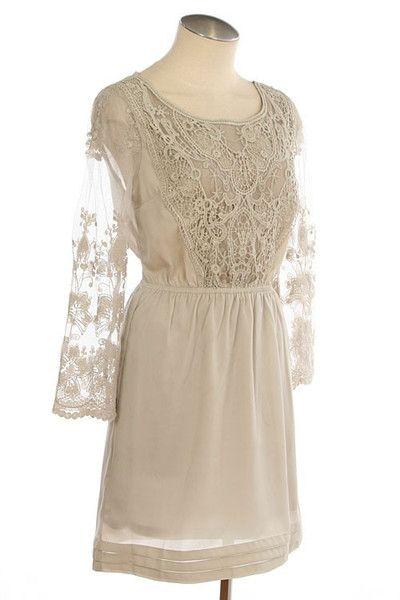 Lace Sleeve Crochet Detail Dress