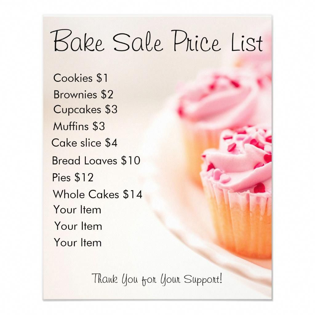 Bake Sale Price List Pink Cupcakes Flyer Zazzle Com In 2020