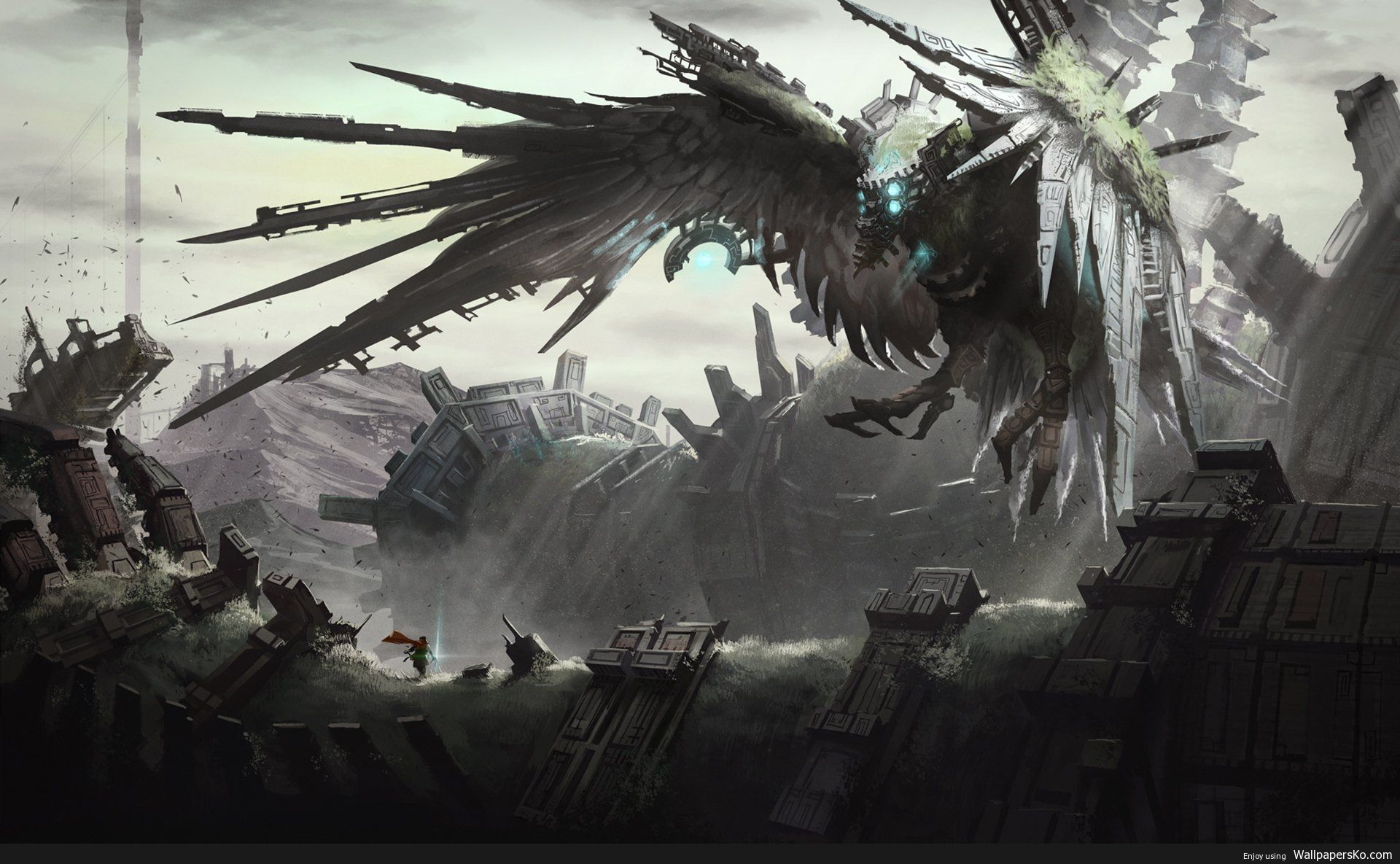 Shadow Of The Colossus Wallpaper 1366x768 Http Wallpapersko Com Shadow Of The Colossus Wallpaper 1366x Shadow Of The Colossus Colossus Fantasy Illustration