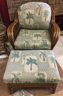 """BOCA RATTAN Amarillo easy chair with matching ottoman. Palm tapestry fabric compliments and completes the Amarillo sofa also in stock. Chair 33"""" x 34"""" x 32"""". Ottoman 25"""" x 19"""" x 16""""."""