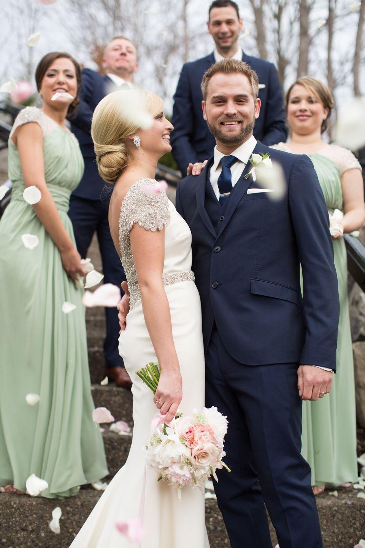 Romantic Canada Wedding At Ancaster Mill Sage Bridesmaid Dresses Sage Green Bridesmaid Dress Blue Suit Wedding