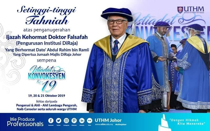 Congratulations to dato dr abdul rahim bin ramli our