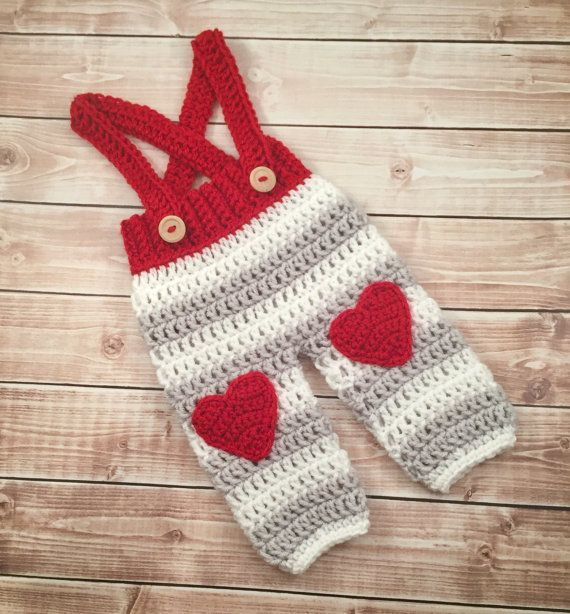 Baby Heart Pants/Valentine\'s Day Photo Prop/Crochet Baby Pants with ...