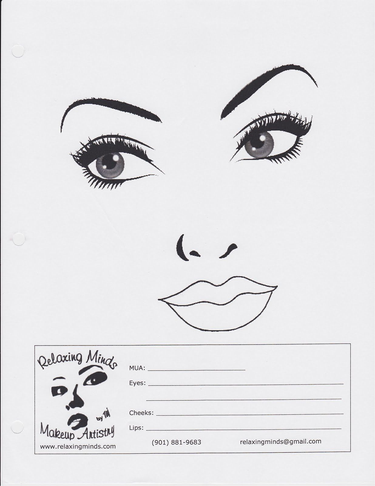Makeup By Angel Blank Face Charts