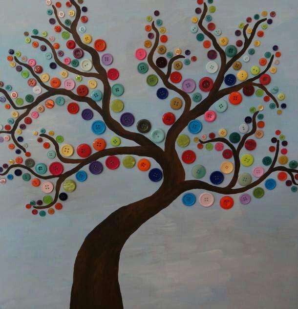 Lente - Een boom versierd met verschillende kleuren. Hier is gebruik ...