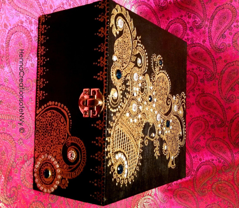 Henna Inspired Midnight Black Peacock Keepsake Jewelry Box with Gem Stones. by HennaCreationsofeNVy on Etsy