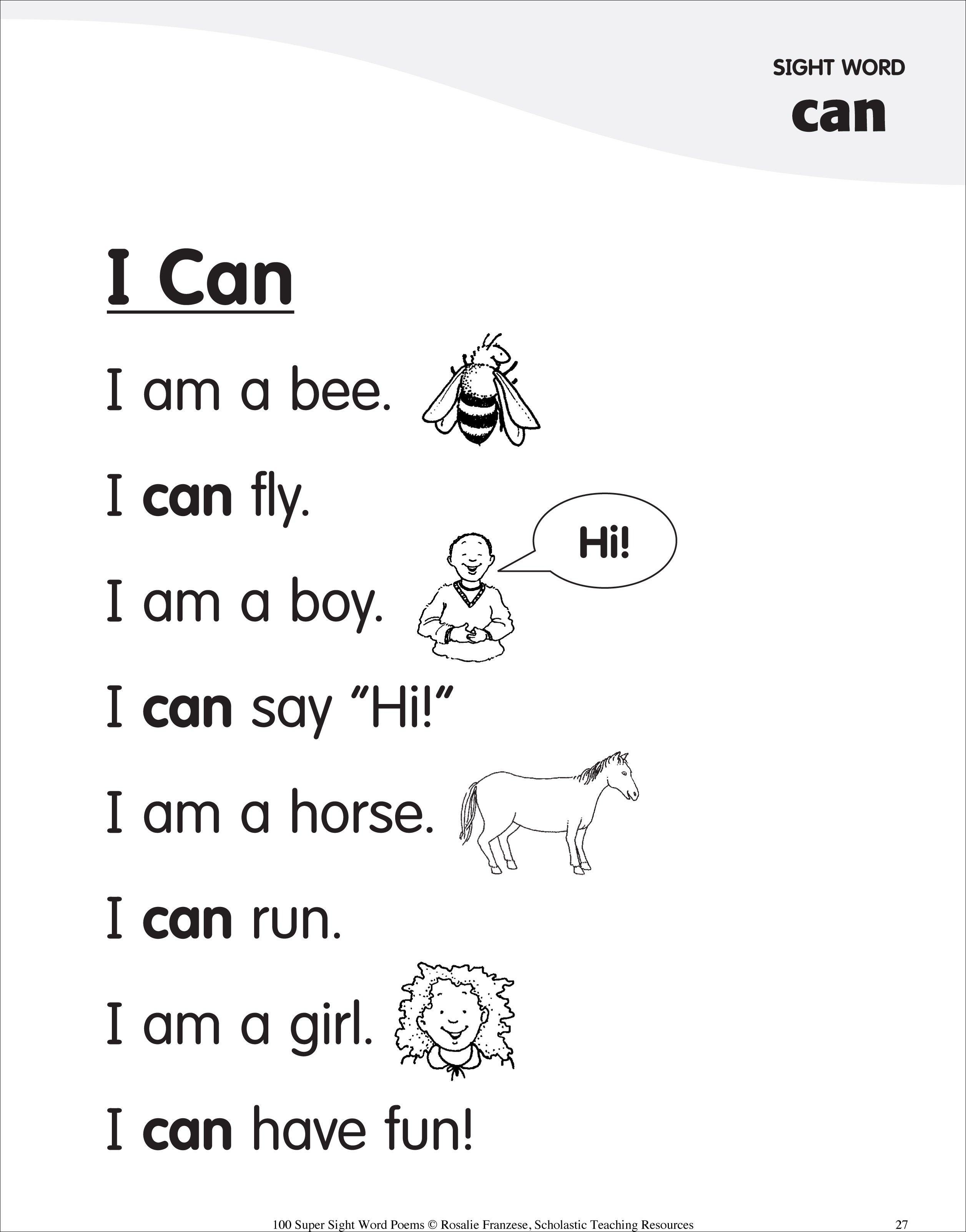 Sight Word Poem For Can