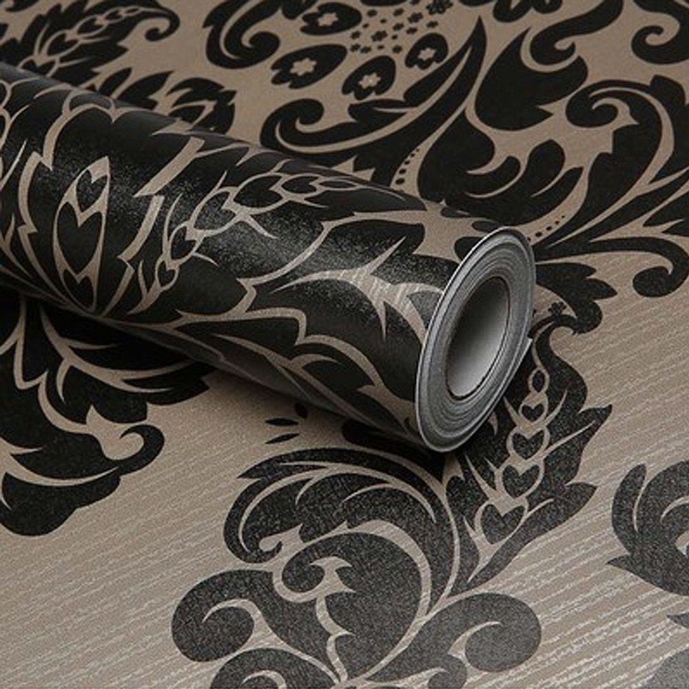 Self Adhesive Contact Paper Black Damask Wallpaper Decorative Cover Vinyl Roll