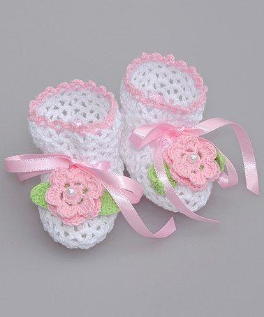 White & Pink Flower Crochet baby Booties #zulilyfinds