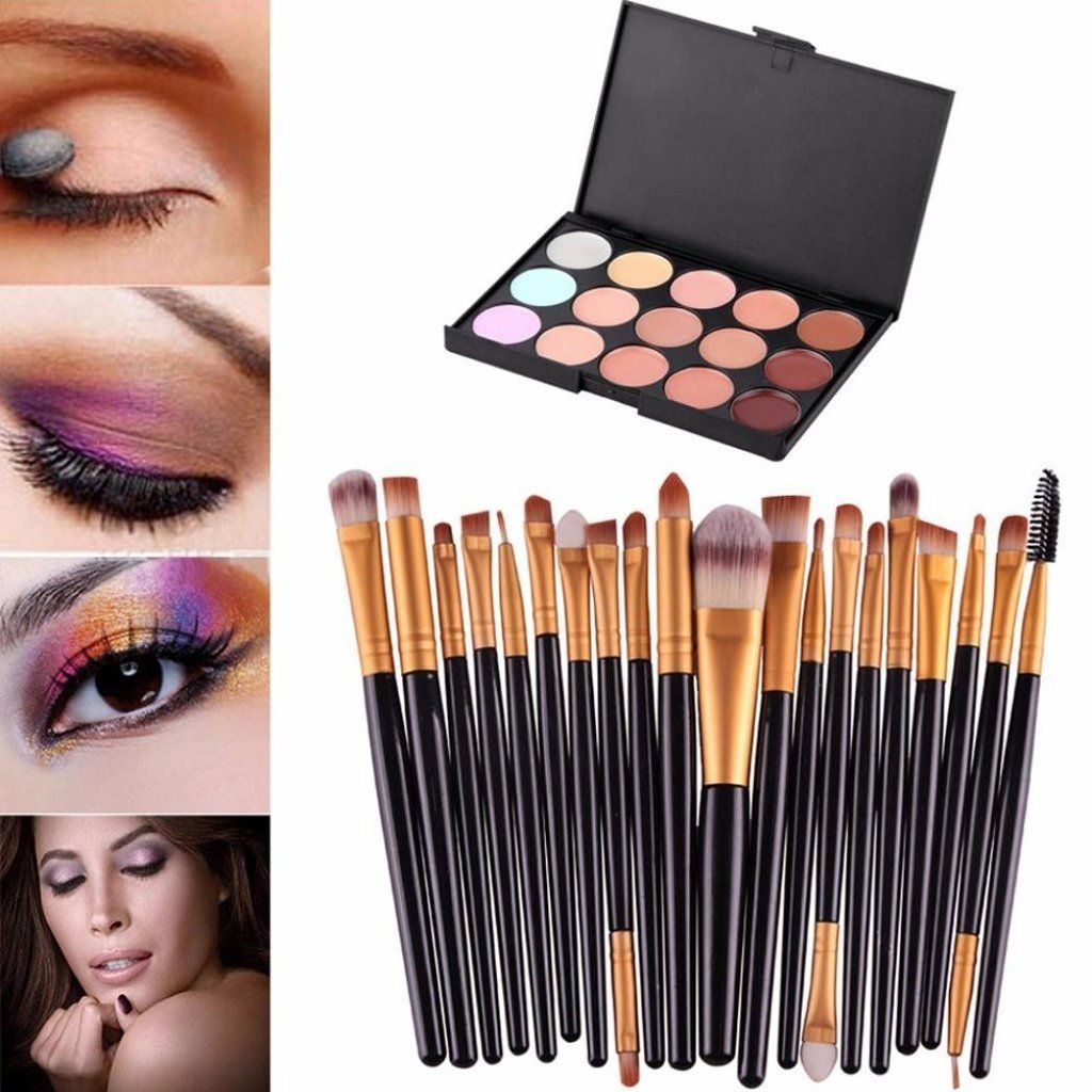 Tonsee 15 Colors Contour Face Cream Makeup Concealer Palette Professional   20PCS Brushes ** For more information, visit image link. (Note:Amazon affiliate link)