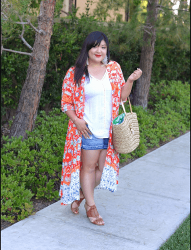 10dec0f7891 Playing-with-Kimonos-382x500 How to Wear Shorts for Plus Size–20 Plus Size  Shorts Outfits