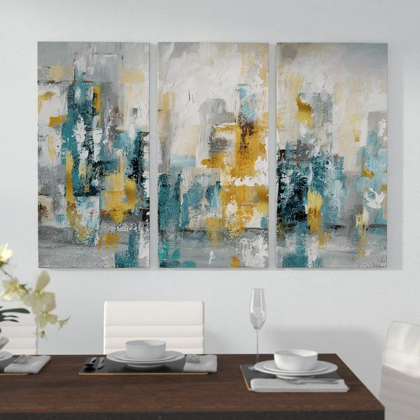 City Views Ii 3 Piece Wrapped Canvas Multi Piece Image Print In 2021 Coastal Wall Art Painting Abstract