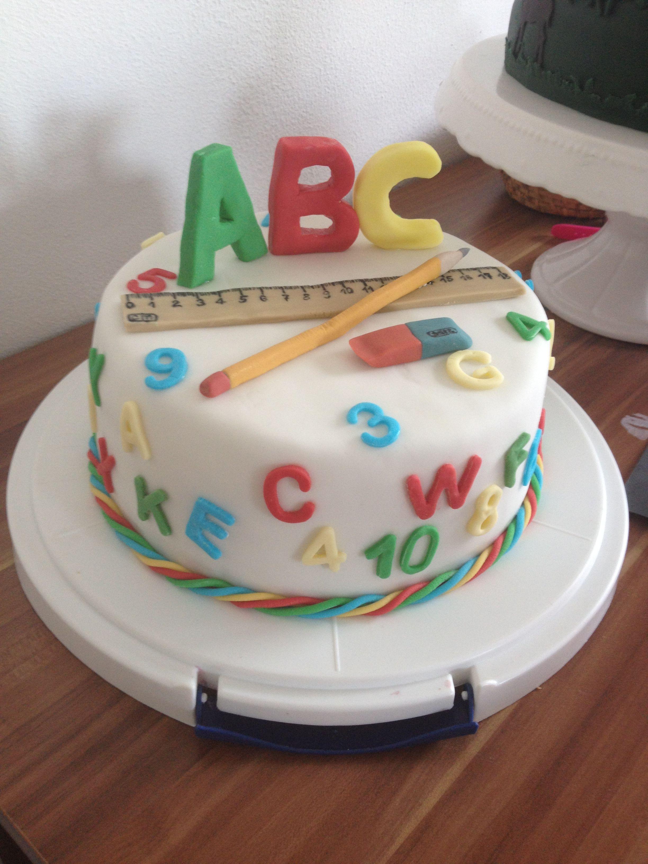 No 5 Abc Cake School Kindergarten Lehrer Kuchen Schulkuchen Torte Einschulung