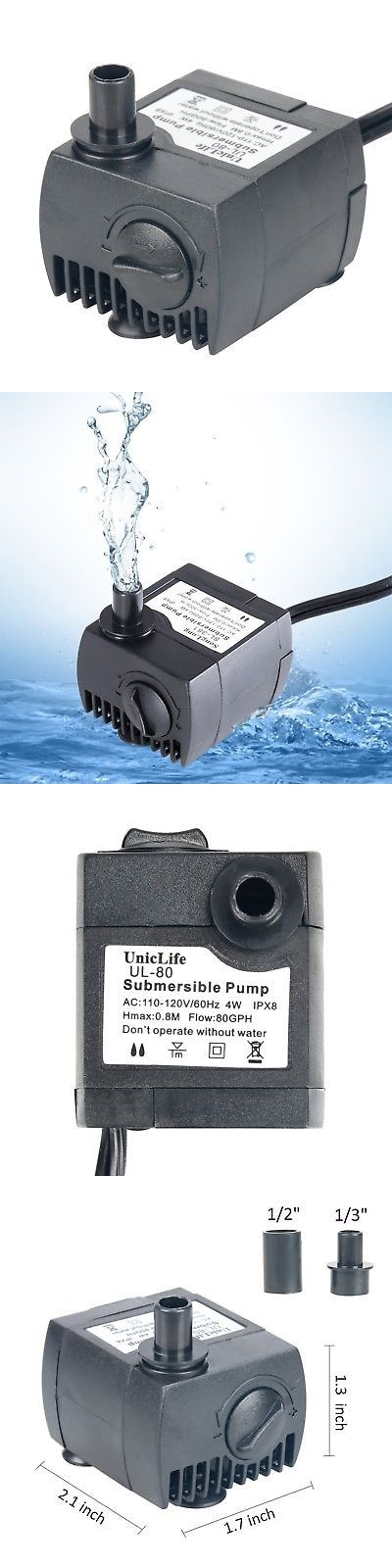 Pumps Water 77641 Uniclife 80 550gph Submersible Water Pump With 6ft Power Cord For Fountain Aq Buy It Now Only 10 89 On Water Pumps Submersible Ebay