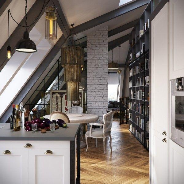 Three dark colored loft apartments with exposed brick walls