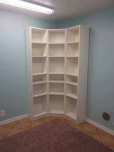 smart idea to arrange skinny bookshelves in a corner to maximize storage space for shoes in closet - Skinny Bookshelves