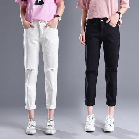 04e09f15451d 2018 Spring Korean Hole Jeans Female Classic High Waist Harem Pants Women  Fashion Slim Solid Color Ankle-length Casual Pants