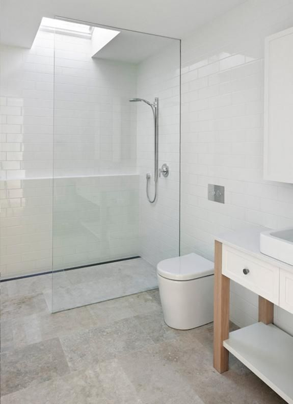 Open Bath With Glass Divider And Trough Shower Drain A Family