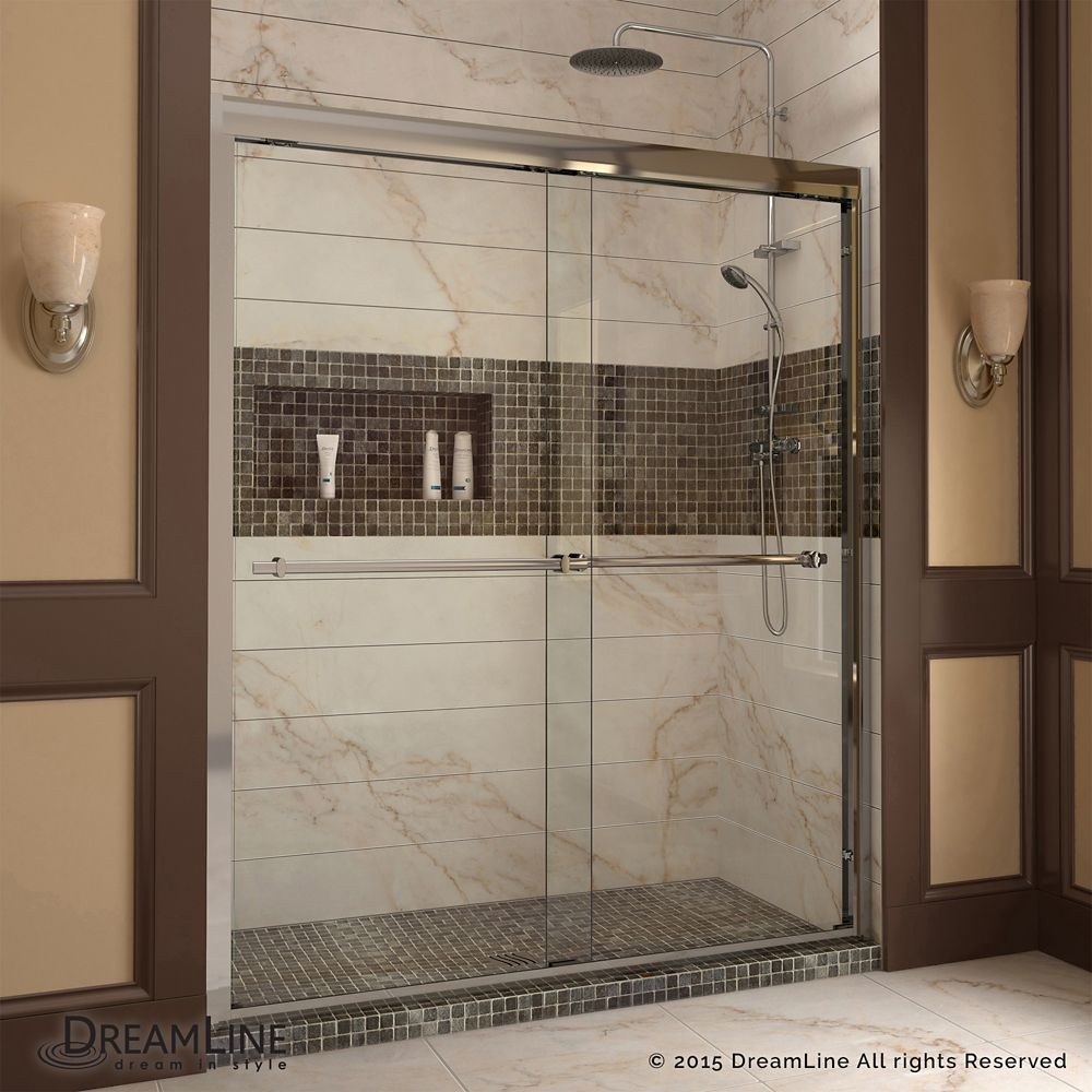 Duet 36-inch D x 60-inch W x 74.75-inch H Framed Sliding Shower Door ...