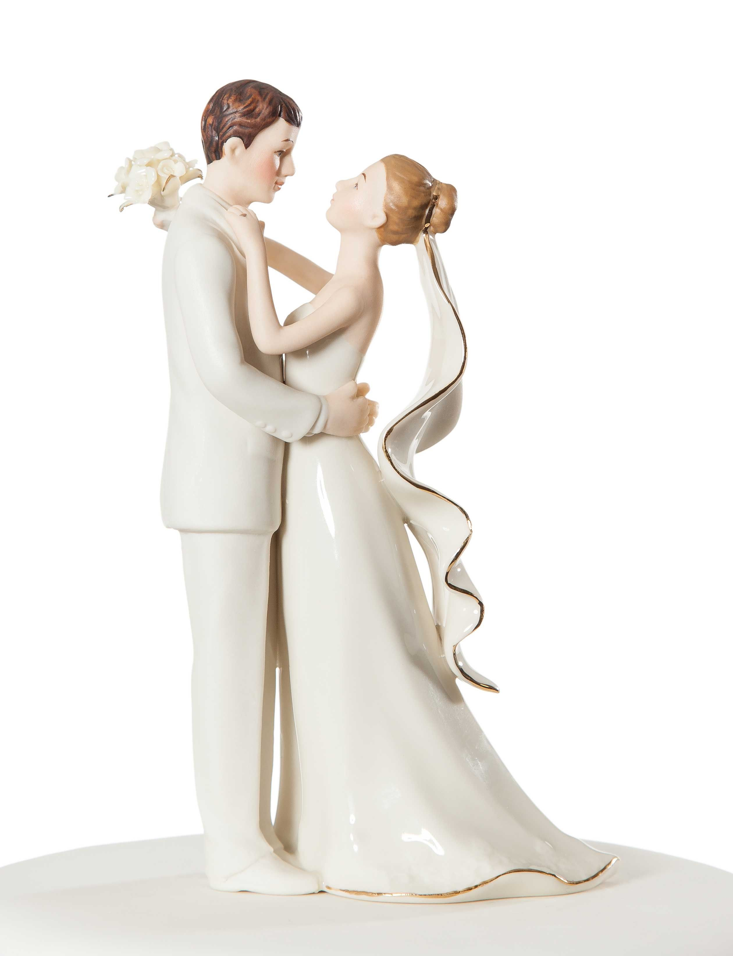 Off-White Porcelain Bride and Groom Wedding Cake Topper Figurine ...
